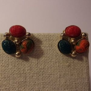 Vtg Scarab Gold Tone Screw Back Earrings
